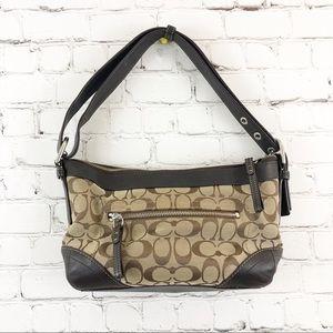 Coach shoulder bag tan leather trim purse